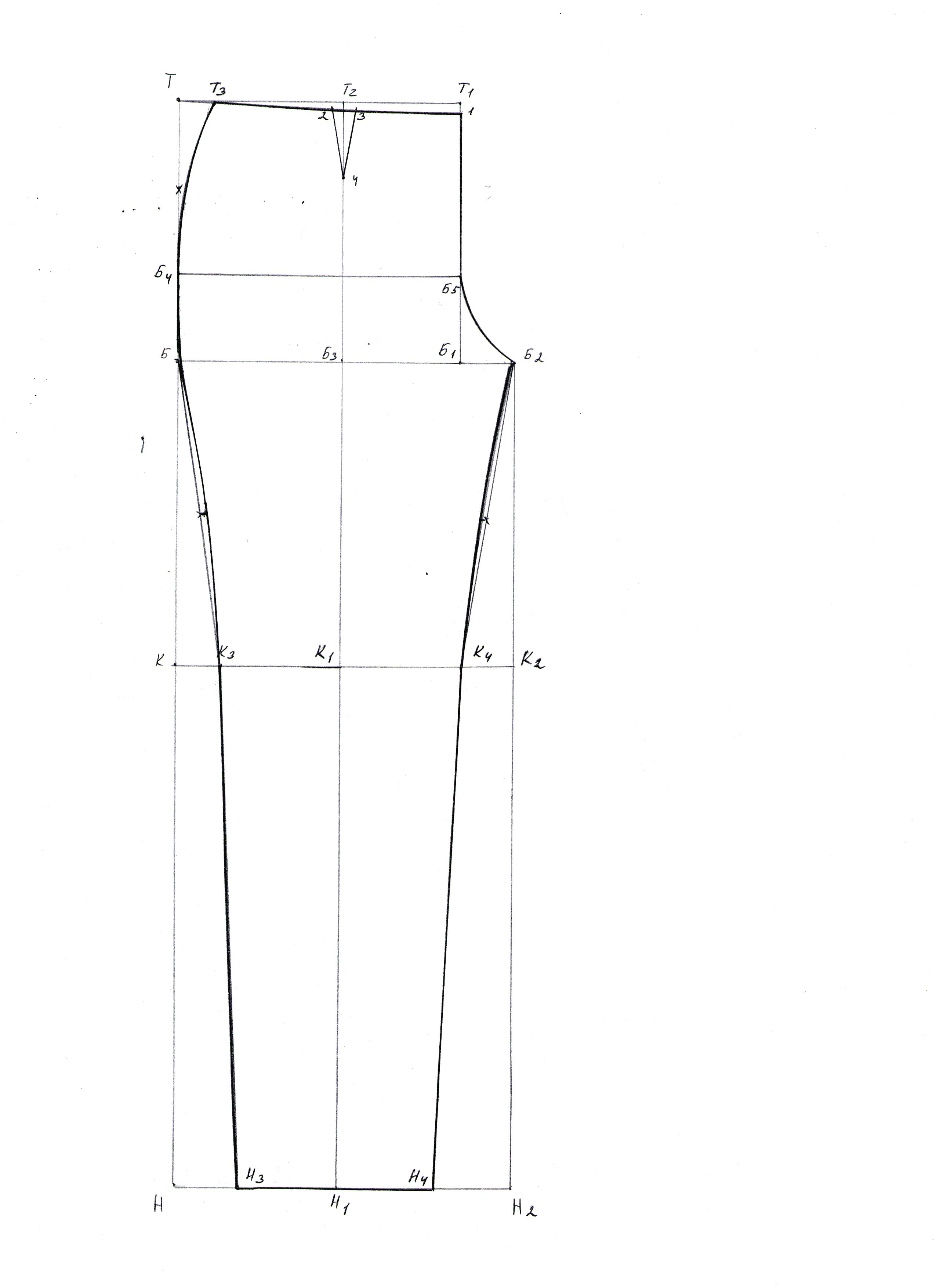 Построение выкройки мужских полуприлегающих брюк. Пошаговая инструкция